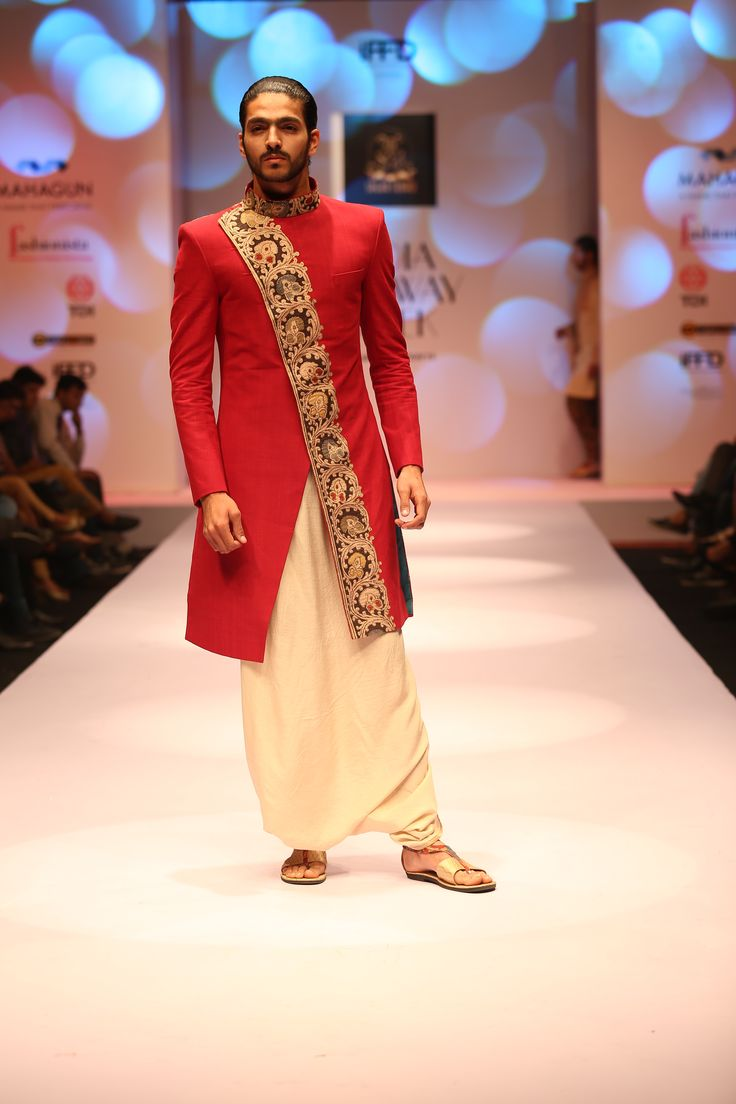 red kalamkari natural dyed sherwani.. by sagar tenali.