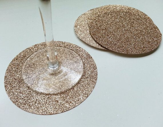 Glitter Paper Coasters - Beverage Coaster - Champagne - Party Decor - Vanilla Beige Tan Ivory - Glitter Party - Rose Gold - Decoration on Etsy, $10.00