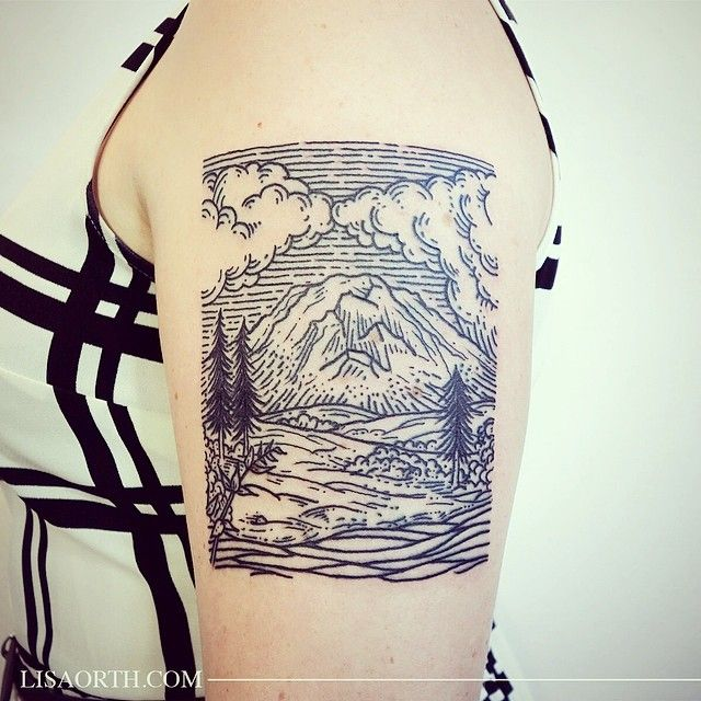 """Did this scene of Mount Rainier for Lauren, who's moving back east and wanted a memento of her time here in the Pacific Northwest for her first tattoo"""