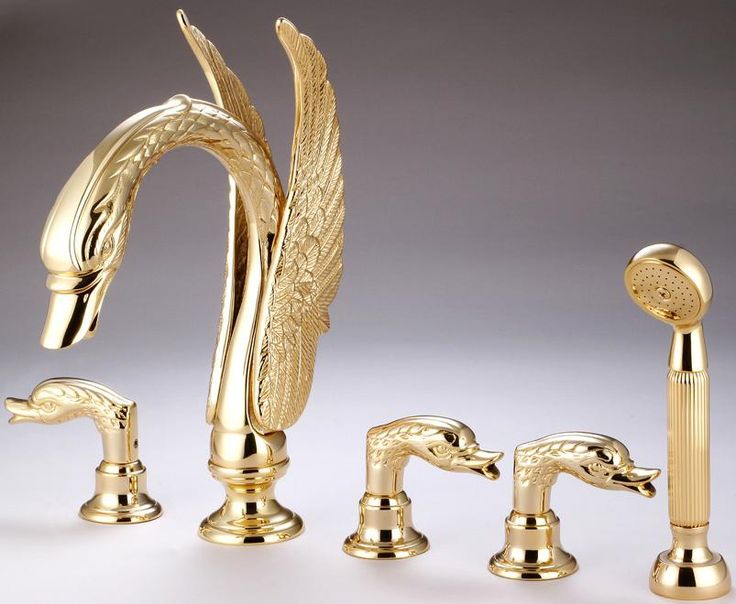 $460.75 | Buy Free Shipping Widespread Swan Tub Faucet Mixer Tap Gold Clour  5 Pieces Bathtub