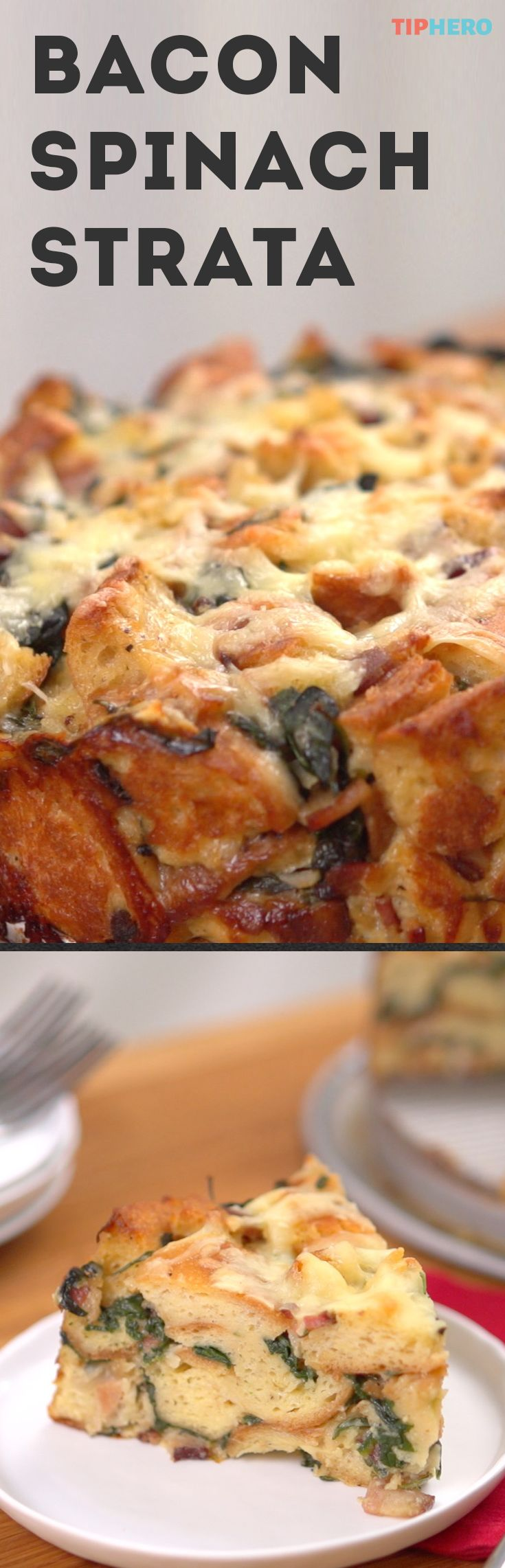 Bacon Spinach Strata Recipe | Looking for the perfect dish for Easter brunch? Try out this cheesy and savory strata. You can make it ahead of time and it's packed full of ingredients every will love like bacon, onion, spinach, rustic bread, eggs and cheddar cheese. #Yum! Click to watch how it's made and give it a try! #easyrecipes #makeaheadmeals #brunch #holidaycooking
