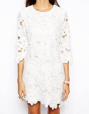 Image 3 of Native Rose Shift Dress in Lace Cutwork