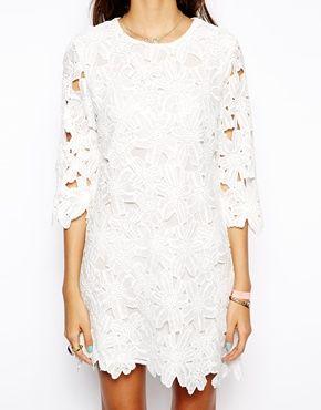 Image 3 ofNative Rose Shift Dress in Lace Cutwork