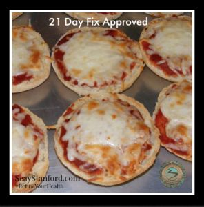 21 Day Fix  English Muffin Pizzas.  I would add some veggies, like mushrooms!!!