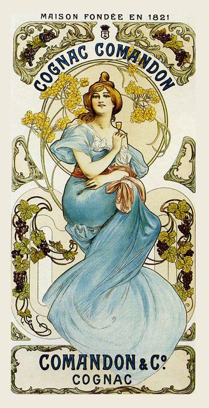 Cognac Comandon poster - belle epoque.