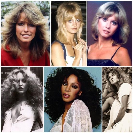 #Seventies #disco hair was all about face-framing flicks and soft full-bodied curls! #FarrahFawcett #GoldieHawn #OliviaNewtonJohn #JerryHall #DonnaSummer #JulieChristie