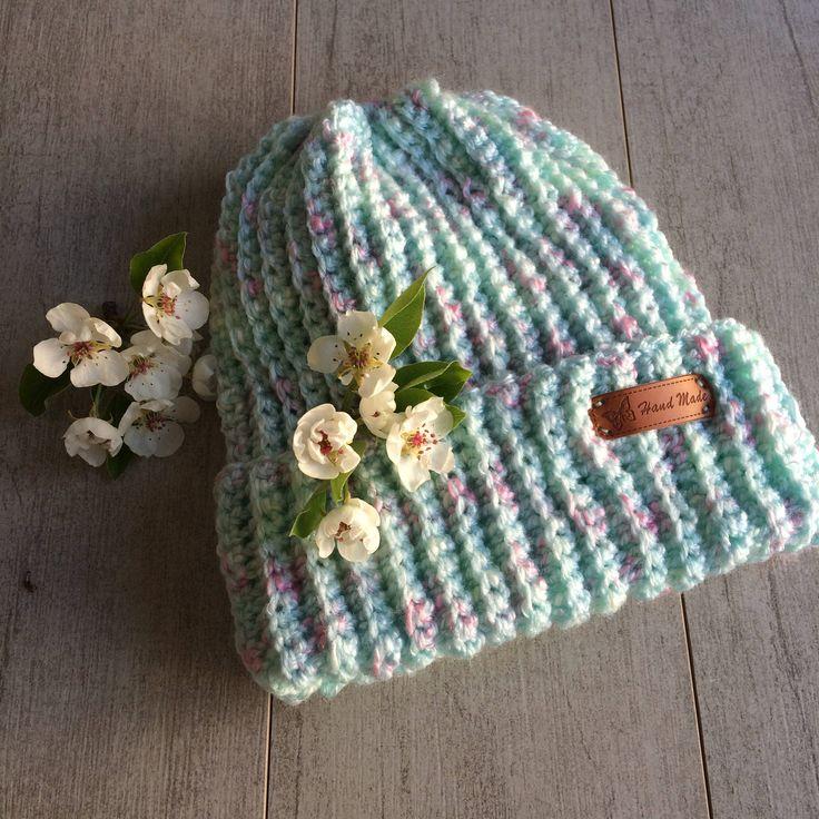 Messy bun hat, crochet hat, crochet beanie, multi colour hat, bun hat, messy bun. by LovelyByInga on Etsy