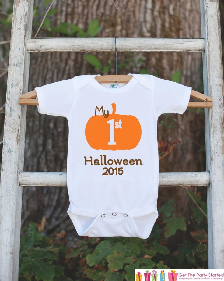 My First Halloween Outfit - Baby's 1st Halloween Onepiece - Halloween Pumpkin Bodysuit for Baby Boy or Baby Girl - My First Halloween Outfit