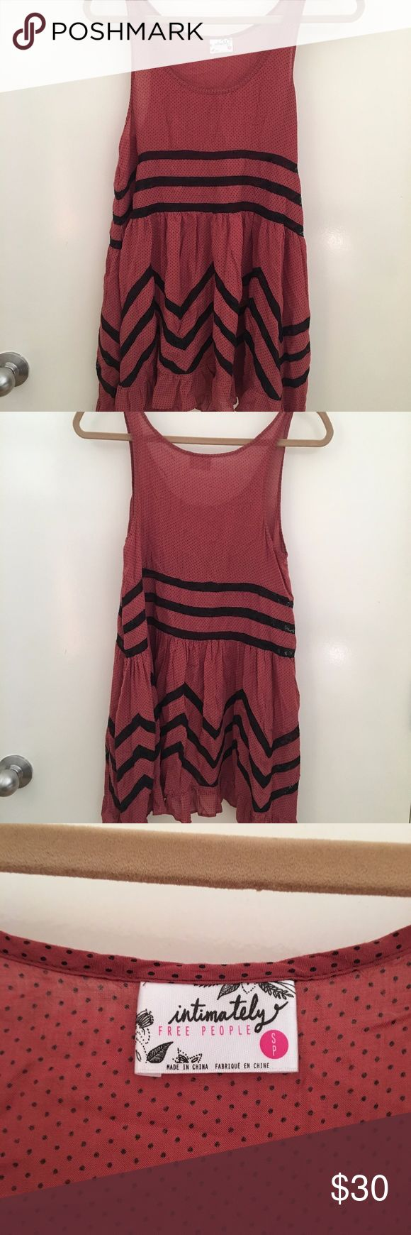 Free People Voile and Lace Trapeze Slip Free People Voile and Lace Trapeze Slip. Burnt coral with black. Rare color combo.  Size: Small, only worn a few times.  https://www.freepeople.com/shop/voile-and-lace-trapeze-slip/ Free People Dresses