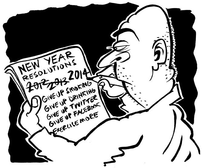 WE ALL DO it. Every New Year we look back and resolve to correct our bad habits and mend our ways. That new exercise regime lasts all of a week, and the withdrawal symptoms from social media kick in after about twelve hours so we switch on the laptop for our much needed fix of Twitter or Facebook.