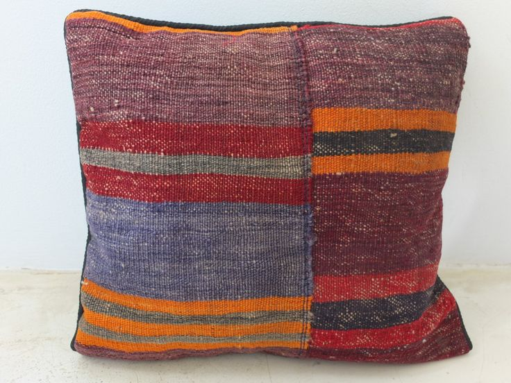 Bohomian Kilim Pillow Cover - Red/Orange/Purple/Blue Accents - 16' Inch (40x40 cm) - Persian Oriental Afghan Cushion - Decorative Housewares. See on Etsy: https://www.etsy.com/listing/197375721/bohomian-kilim-pillow-cover?ref=shop_home_active_6
