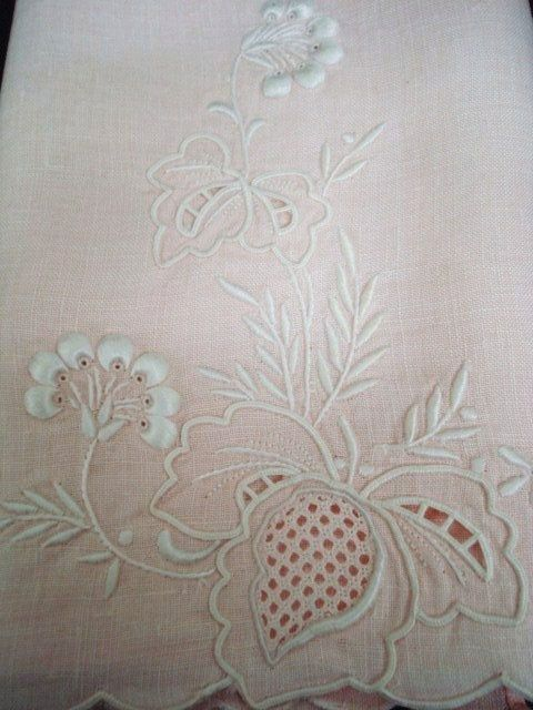 Antique Towel Pastel Pink Embroidery Marghab Style Beautiful Detail Madeira Floral