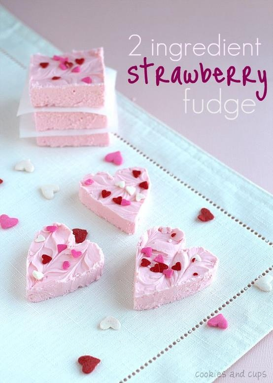 Two Ingredient Strawberry Fudge ~  1 (16 oz) can of strawberry frosting + 12 oz bag of white chocolate chips #VDay