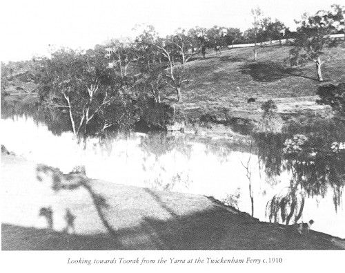 PH 60333. Looking towards Toorak from the Yarra at the Twickenham Ferry, c.1910. The Twickenham Ferry operated across the Yarra River close to where MacRobertson bridge on Grange Road now stands. This view is taken looking south from the Richmond side of the river.