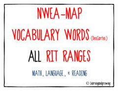 NWEA MAP Vocabulary Walls! Enter for your chance to win. MAP NWEA Vocabulary Word Walls ALL RIT Ranges (Reading, Language, & Math)  (56 pages) from LearningandGrowing on TeachersNotebook.com (Ends on on 08-02-2015) NWEA MAP Vocabulary Walls (ALL RIT RANGES).