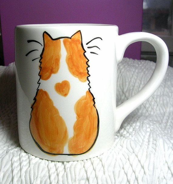 Orange and White Cat Mug Ceramic Original 12 by GoodNiteGracie,