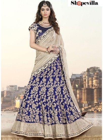 Blue Colour Net & Lycra Lehenga Choli-6910