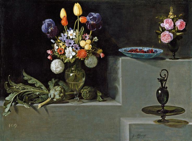 Juan van der Hamen y Leon (1596 - 1631) 'Still Life with Flowers, Artichokes & Glassware', 1627 Oil on canvas, Museo Nacional del Prado