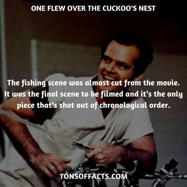 The fishing scene was almost cut from the movie. It was the final scene to be filmed and it's the only piece that's shot out of chronological order. #oneflewoverthecuckoosnest #movies #interesting #facts #fact #trivia #awesome #amazing #1 #memes #moviefacts #movietrivia #oneflewoverthecuckoosnestfacts #oneflewoverthecuckoosnesttrivia