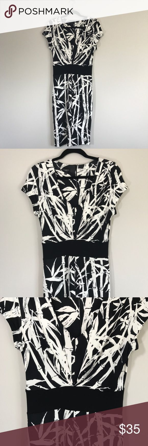 """Talbots Bamboo Print Career Work Wear Midi Dress In excellent used condition. Rayon and Spandex fabric. Very stretchy! Full zip up on back. Size 6, true to size! Please refer to measurements to ensure a proper fit! Pit to pit: 18"""" Length: 40"""" Talbots Dresses Midi"""