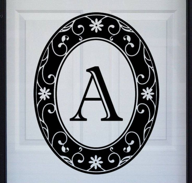 "New 21""x28"" Black Oval MONOGRAM Static Cling Glass Windows & Front Doors…"