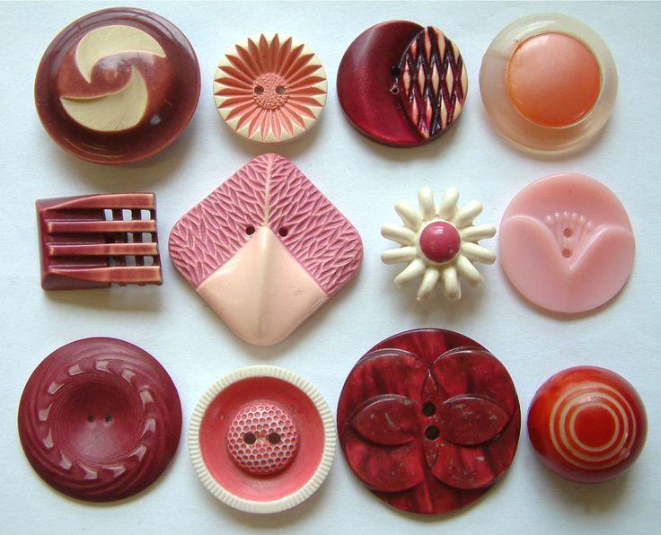 12 Vintage Pink & Plum Art Deco & Floral LARGE Celluloid/Plastic Buttons