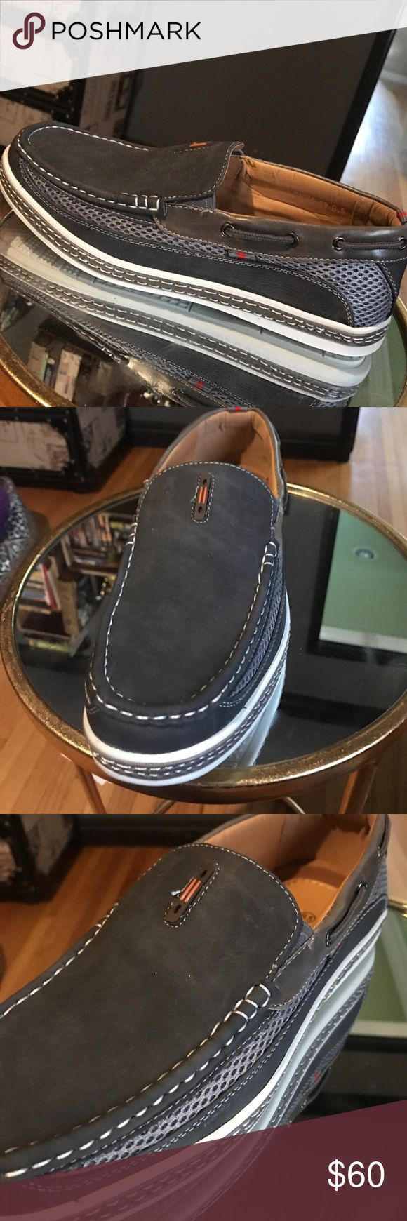 Casual men's slip on loafers Casual mesh side panel slip on loafers for men. Contrasting stitching details. Brand new never been worn. Comes with original packaging. Versatile and pairs great with jeans! (Also available in brown) frenchic Shoes Loafers & Slip-Ons