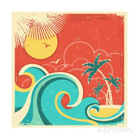 Vintage Tropical Poster With Island And Palms Art by GeraKTV at AllPosters.com