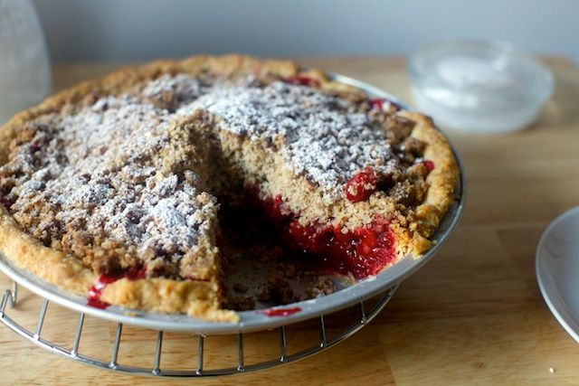 cranberry pie with thick pecan crumble - i would probably substitute for sea salt dark chocolate almonds