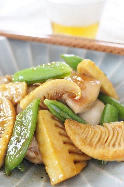 スーパーに、春野菜が並んでいますね!食感の良いスナップエンドウ、タケノコ(水煮)を使ったオイスター+みりんだけの味付けの簡単炒めです!