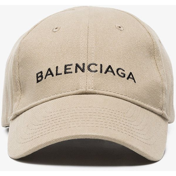 Balenciaga Beige Logo Cap ($365) ❤ liked on Polyvore featuring accessories, hats, balenciaga, logo hats, peaked cap, logo cap and embroidery hats