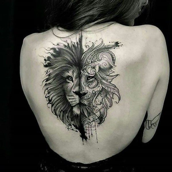 Amazing Lion Back Ink Tattoo