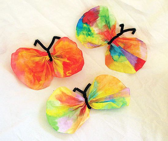 coffee filter butterfly craft. I've done this with my consumers. It was a lot of fun!