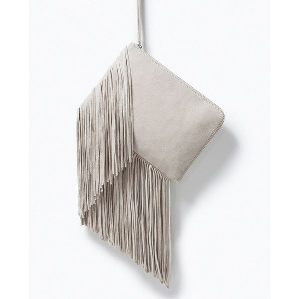 Zara Fringed Leather Clutch ($50) ❤ liked on Polyvore featuring bags, handbags, clutches, ivory, white leather purse, leather fringe handbag, fringe handbags, real leather handbags y leather fringe purse