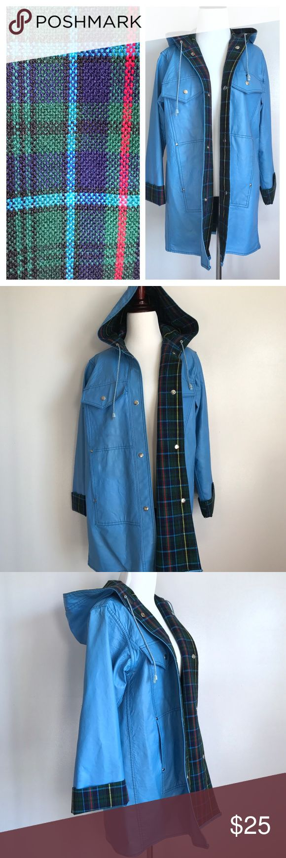 Vintage Lot One Raincoat☔️ Vintage Lot One blue raincoat with green plain flannel inner lining. The size tag is worn but it fits like a medium! Good vintage condition. There are a few minor blemishes which I circled in the last picture. They aren't super noticeable. Please ask questions if you have any :) Lot One Jackets & Coats