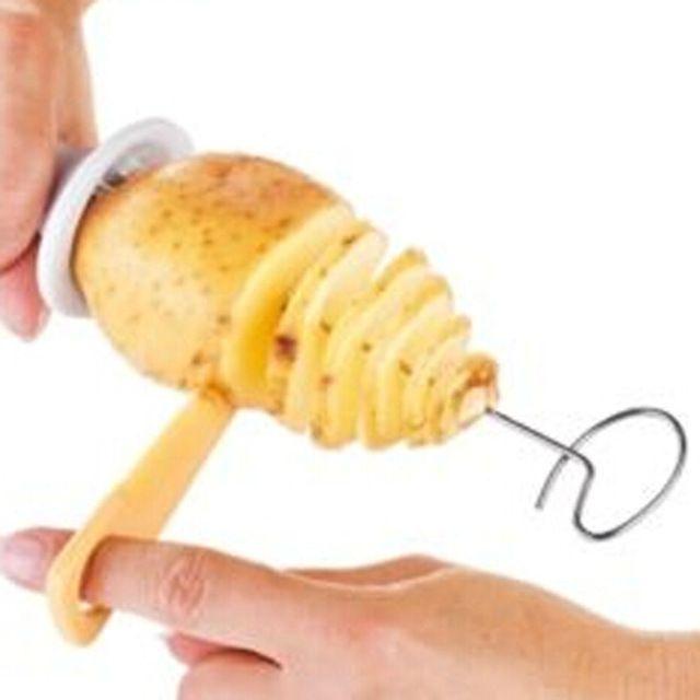 Tornado de la patata cortador espiral de la patata máquina de cortar espiral de la patata chips presto 4 escupe la torre giro trituradora 2014 herramientas de cocina 23 cm