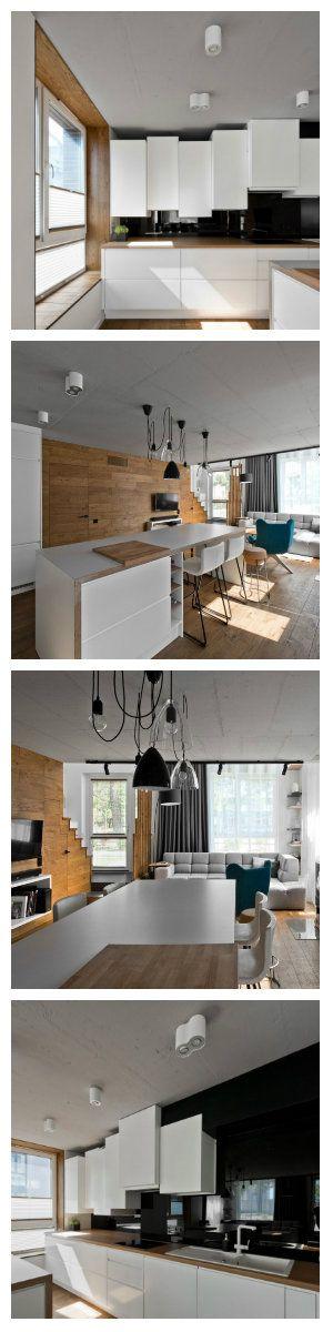 Очень приятная и уютная кухня выглядит весьма нестандартно благодаря выбору осветительных приборов. Лампы на длинных, переплетенных между собой шнурах над столом, имеют абажуры черного цвета и абсолютно прозрачные - стеклянные. Ближе к рабочей зоне, форма светильников способна удивить - белые, двойные и одинарные лампы заключены в гладкий корпус пластика.  #кухня #светильники #лампы #освещение #подсветка #светодиодноеосвещение #светодиоднаяподсветка #светодиодныесветильники…
