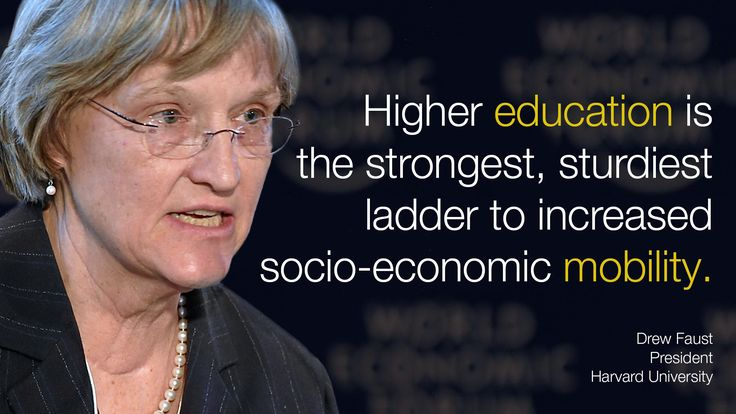 Higher #education is the strongest, sturdiest ladder to increased socio-economic mobility. - Drew Faust in #Davos at #wef15