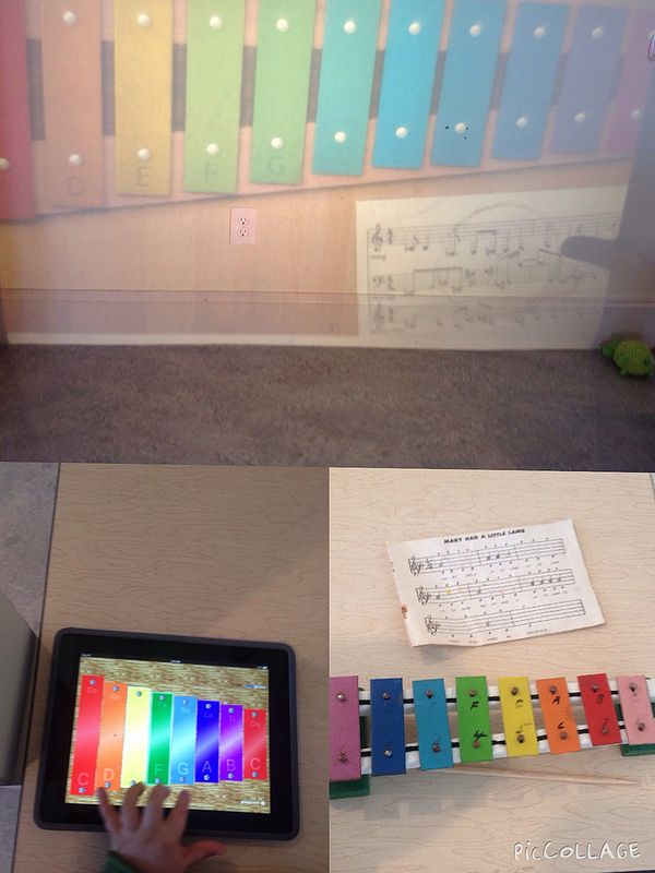 Playing different Xylphones-real, digital(iPad) and on the wall with the OHP