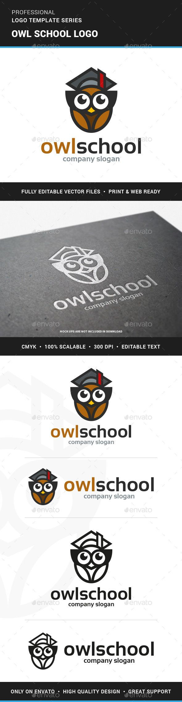 Owl School Logo Template #hat #education  • Download here → https://graphicriver.net/item/owl-school-logo-template/13100272?ref=pxcr
