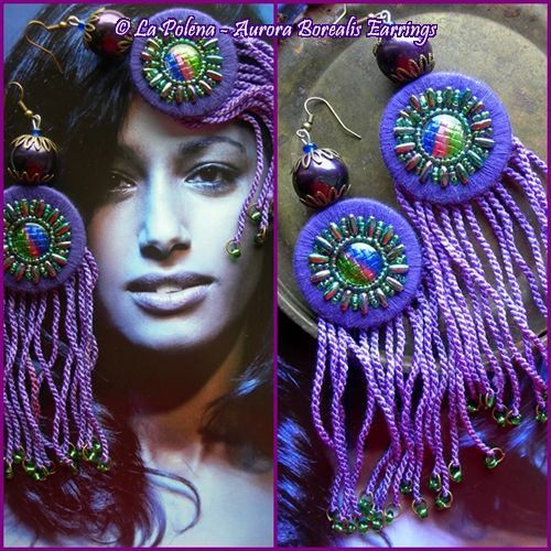 https://flic.kr/p/NXQSU2   Aurora Borealis earrings   Hand dyed fringed earrings with my Artisan beads (Type I)
