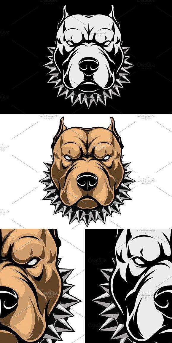 Angry Dog Head Angry Dog Pitbull Art Dog Drawing Simple