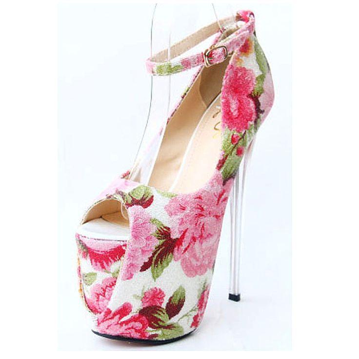 Aliexpress.com: Comprar Mujeres de ultra 19 cm bottoms Red high heels Sexy mujer zapatos 22 cm tacones impresión floral plataforma bombas zapato con cierre de aguja ladies de tacones de zapatos de moda fiable proveedores en Guangzhou Yaya Trading Co.,Ltd