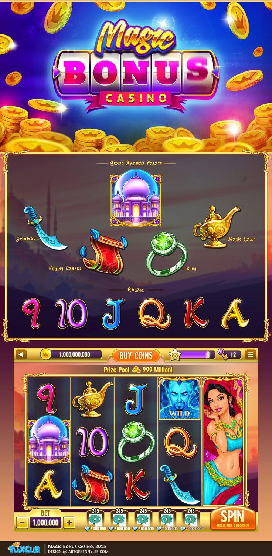 Game Art for Slots Games.  Magic Bonus Casino, Copyright © 2015, Fox Cub Games