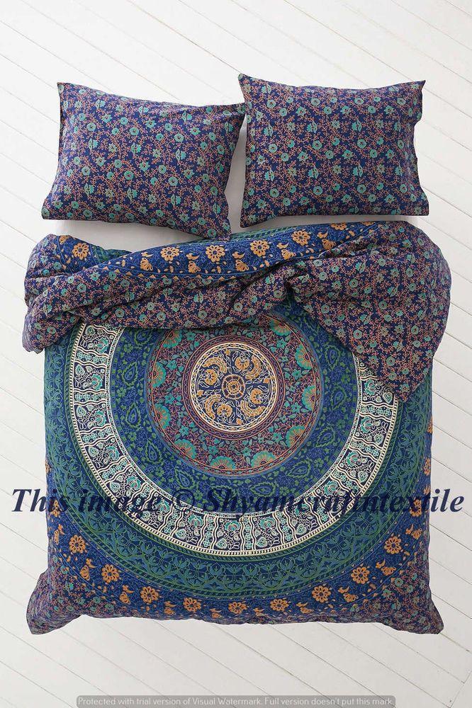 quilt duvet cover set bohemia exotic indian mandala bedding set double size new