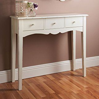 Parte superior Home Solutions® Shabby Chic de madera en color blanco con 3 cajones mesa consola Hall lateral final tocador escritorio