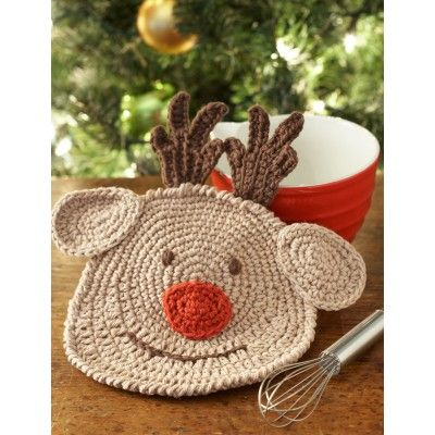 Reindeer Dishcloth, free pattern, this would be a cute Christmas gift