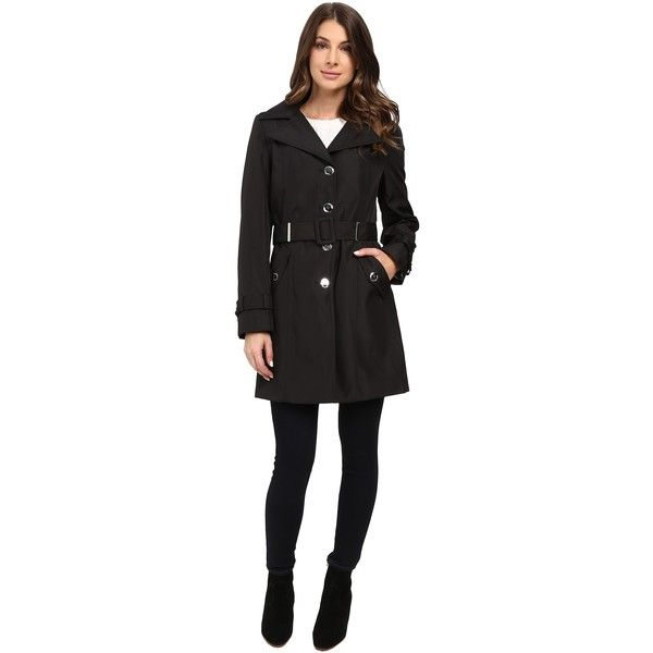 Calvin Klein Single Breasted Rain Trench (Black) Women's Coat featuring polyvore, women's fashion, clothing, outerwear, coats, single breasted raincoat, fur-lined coats, calvin klein raincoat, water resistant coat and mac coat