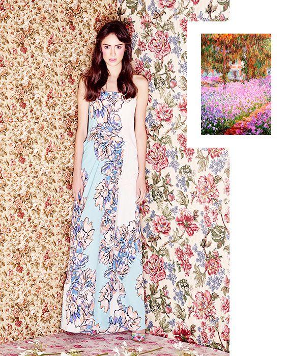 Jardín del artista en Giverny de Claude Monet. vestido de: BCBMaxAzria. Zapatos de: Steve Madden.