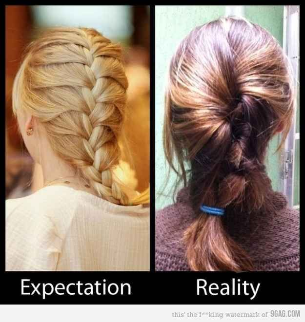 I know I'll never be a Pinterest hair girl because the one on the right actually still looks cute to me? | 16 Disappointing Pinterest Beauty Fails